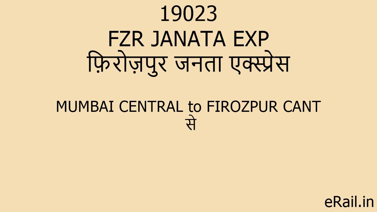 19023 FZR JANATA EXP Train Route